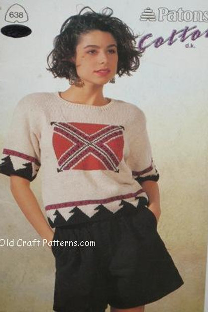 Patons 638. Cotton d.k. Ladies Sweaters & Tops Knitting Patterns