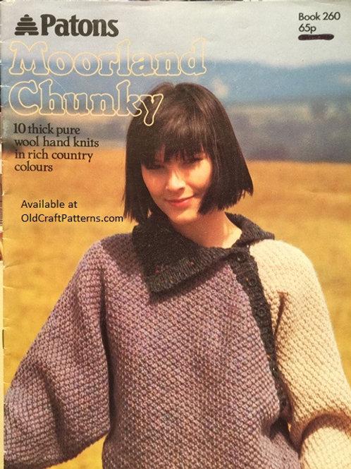 Patons 260. Moorland Chunky - 10 Handknits Knitting Patterns