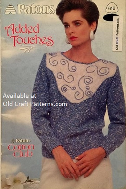 Patons 616. Added Touches - Ladies Short Long Sleeveless Tops Knitting Patterns