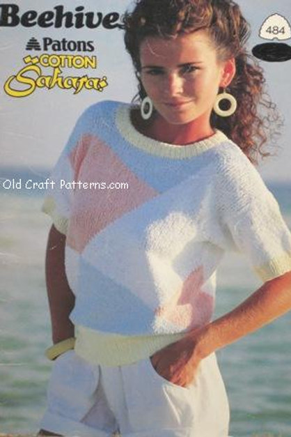Patons 484. Cotton Tops - Ladies Summer Sweaters Knitting Patterns