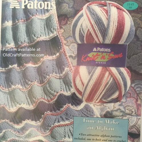 Patons 1145. Two Afghans - One Knit and One Crochet Pattern Leaflet