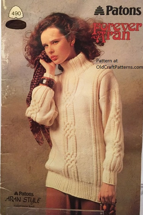 Patons 490. Forever Aran - Sweaters Skirt Knitting Patterns