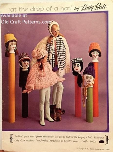 Lady Galt 1002. Quick Knits - Poncho Hats Mitts - Knitting Patterns