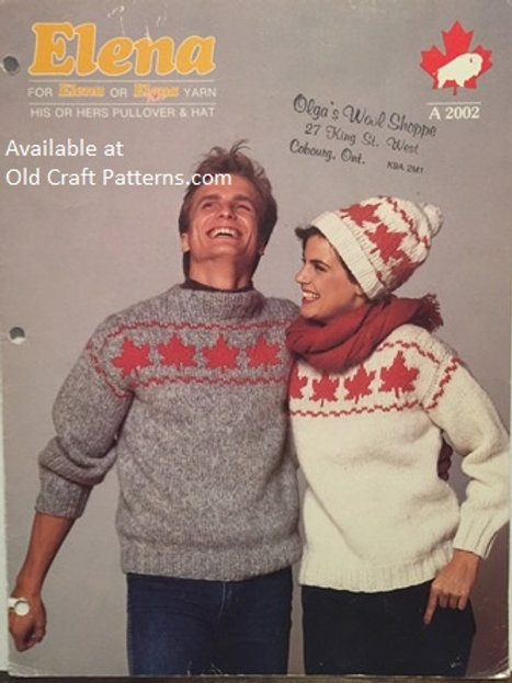 Elena 2002. His or Hers Maple Leaf Pullover Sweater and Hat Knitting Patterns