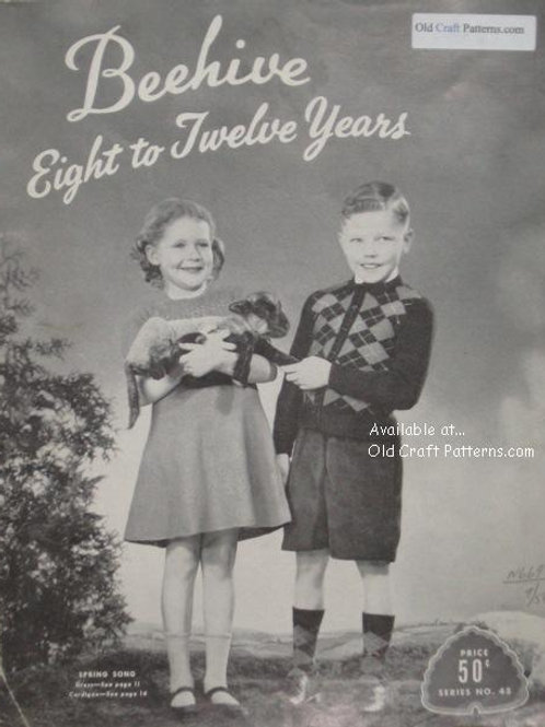 Patons 45 - Eight to Twelve Years - Sweaters Socks Dress Hats Knitting Patterns