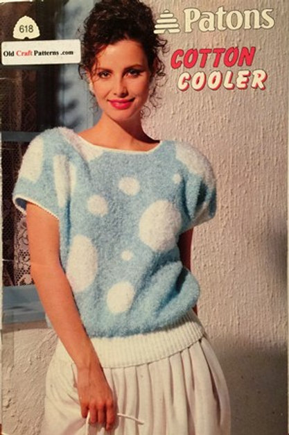 Patons 618. Cotton Cooler - Ladies Tops & Sweaters Knitting Patterns