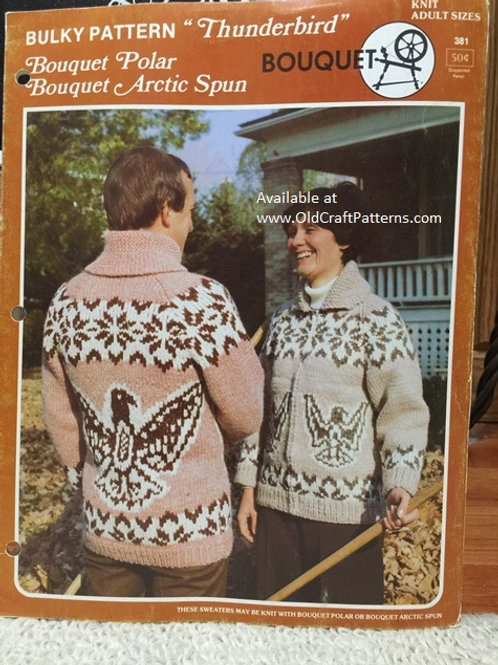 Bouquet 381. Thunderbird Knitting pattern for Adult Sweater