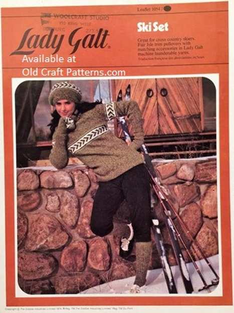 Lady Galt 1054. Ski Set - Pullover Sweater Socks Hat Mitts Tam Knitting Patterns