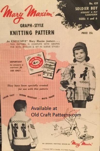 Mary Maxim 459. Soldier Boy Childrens Cardigan Sweater Graph Knitting Pattern