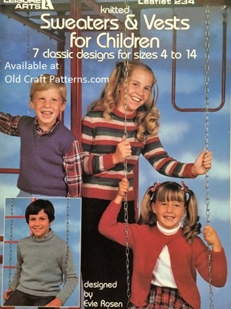 Leisure Arts 234. Sweaters & Vests for Children - Classic Designs