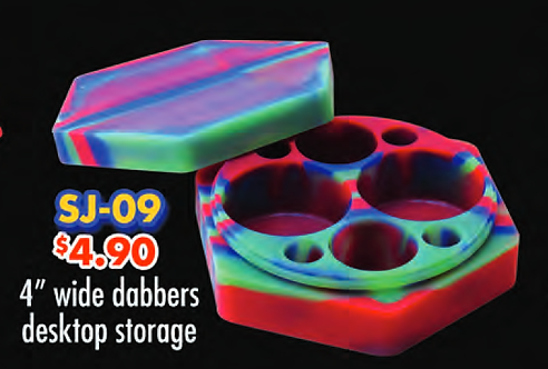 "SILICONE CONTAINER 4"" wide dabbers desktop storage"