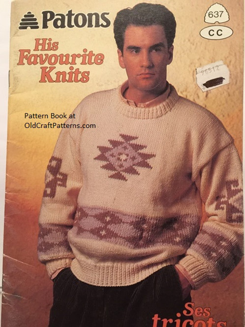 Patons 637 His Favourite Knits - Mens Knitting Patterns