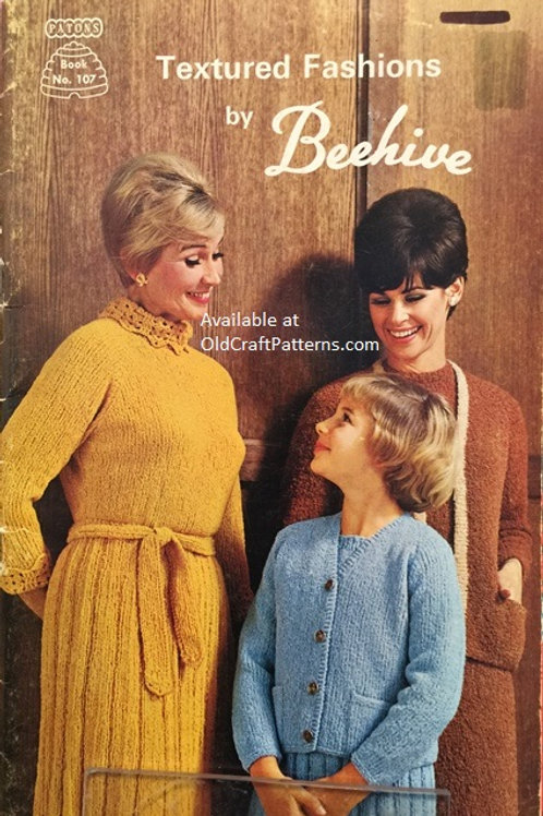 Patons 107. Textured Fashions - Ladies Girls Suits Skirts Tops Knitting Patterns