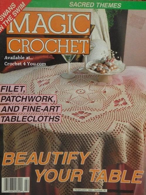 Magic Crochet 76. Crocheted Filet Tablecloths Doilies Curtain Patterns