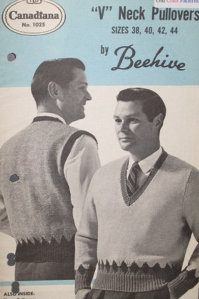 Patons Beehive 1025. V-Neck Pullovers Knitting Pattern