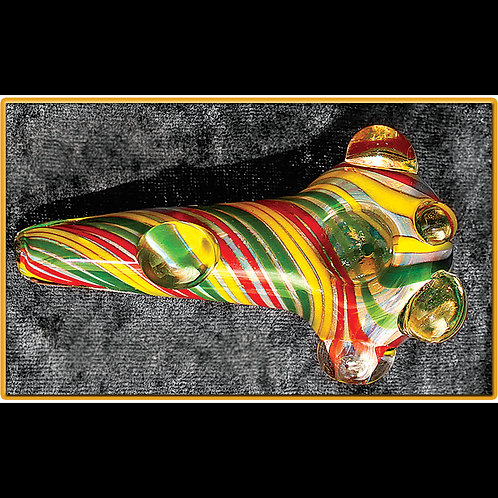 Striped rasta Handpipe. Tampered w/ marble RAS-01