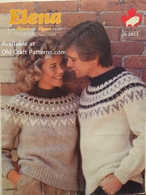 Elena 2011. His or Hers Fair Isle Pullover Knitting Pattern