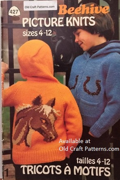 Patons 427. Picture Knits - Sizes 4 to 12 years - Childrens Knitting Patterns