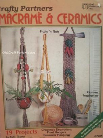 Craft Publications 7285. Macrame & Ceramics - Plant Wall Hanging Decor Patterns