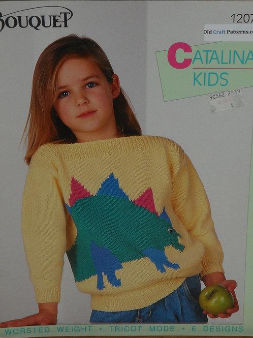 Bouquet 1207. Six Kids Sweaters Dinosaur Fish Knitting Patterns
