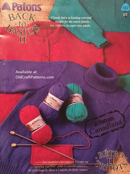 Patons 562. Back to Basics Book 2 - Classic Knits in Worsted Weight