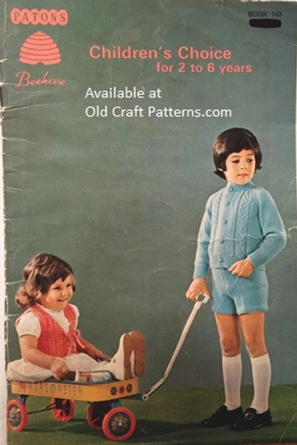 Patons 143. Childrens Choice - 2 to 6 years Sweaters Vests Knitting Patterns