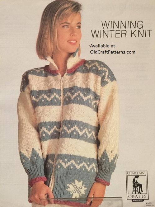 Chatelaine 455. Winning Winter Knit Fair Isle Jacket Knitting Pattern