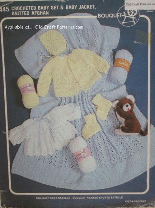 Bouquet 445. Crochet Baby Set, Jacket and Knitted Afghan Patterns
