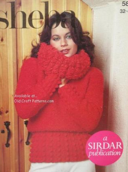 Sirdar 5819. Ladies Pullover Sweater with Bobble Stitch Accent Knitting Pattern