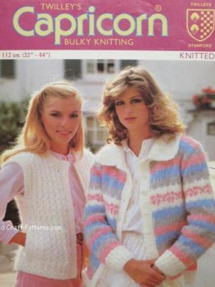 Twilley's 6518. Knitted Ladies Sweater & Waistcoat - Knitting Patterns