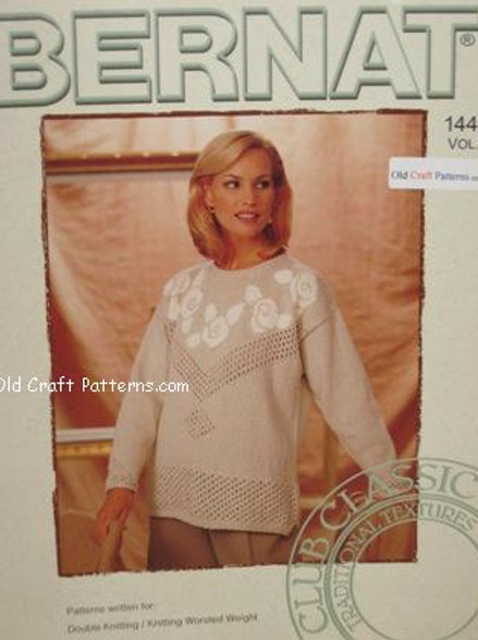 Bernat 1444 Pullover Sweaters - Roses Leaves Knitting Patterns