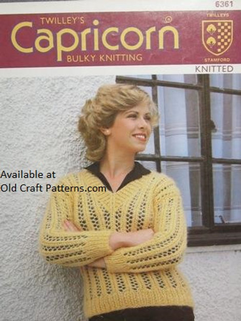 Twilleys 6361. Knitted V-Neck Sweater - Knitting Pattern