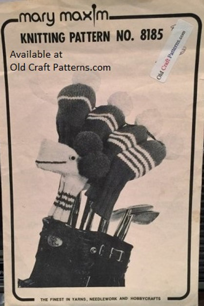 Mary Maxim 8185. Golf Club Covers and Putter Pup - Knitting Patterns