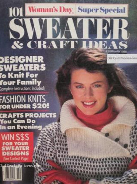Womans Day February 1988. 101 Sweaters & Craft Ideas