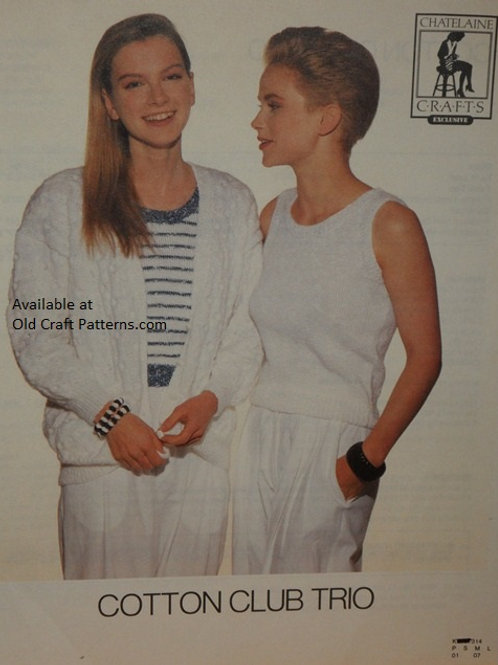 Chatelaine 314. Cotton Tank Top and Cardigan Ladies Knitting Patterns