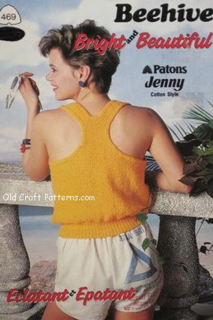 Patons 469. Bright and Beautiful - Ladies Cool Cotton Tops Knitting Patterns