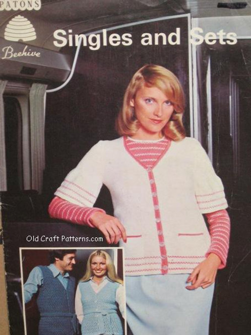 Patons 6. Singles and Sets - Men Ladies Sweaters Vests Knitting Crochet Patterns