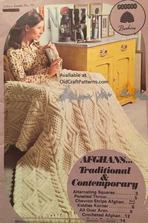 Patons 10. Afghans Traditional & Contemporary - Knitting and Crochet Patterns