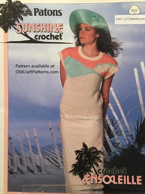 Patons 512. Sunshine Crochet - Summer Tops Crocheted Patterns