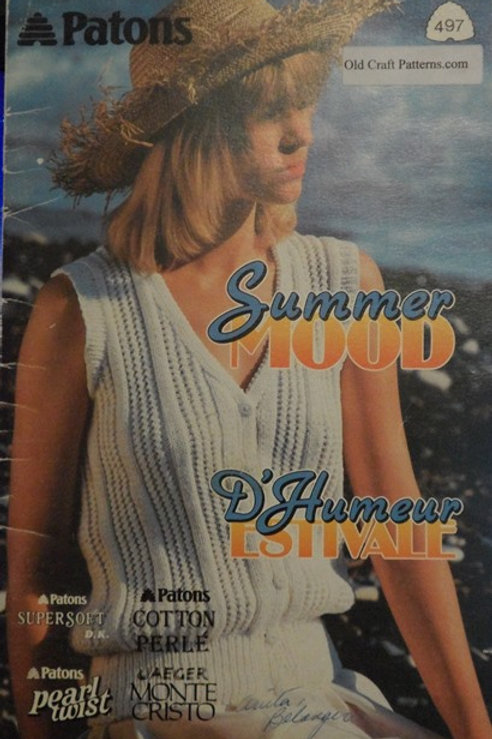 Patons 497. Summer Mood - Ladies Summer Sweater Tops Knitting Patterns