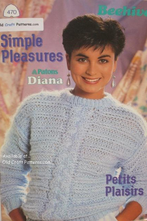 Patons 470. Simple Pleasures - Ladys Sweaters using Diana Yarn Knitting Patterns