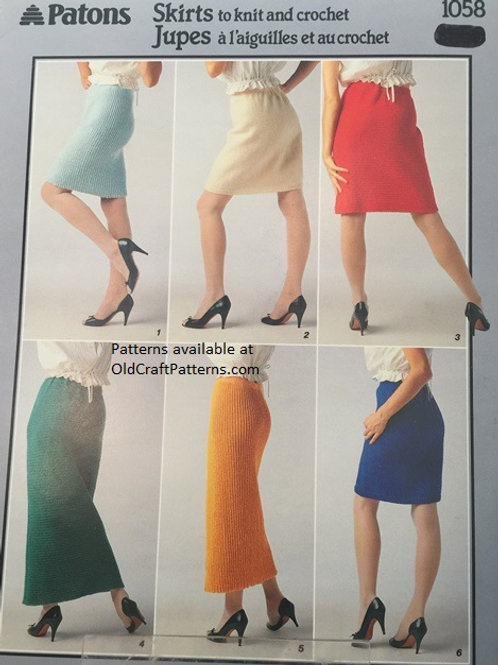 Patons 1058. Skirts to Knit and Crochet Patterns Leaflet