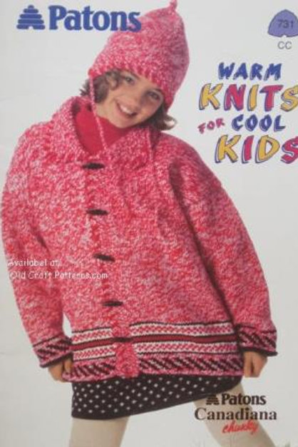 Patons 731. Warm Knits for Cool Kids - Childrens Chunky Knitting Patterns