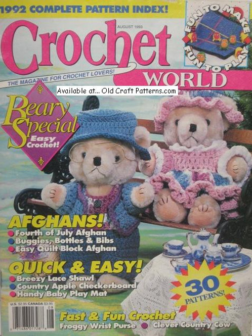 Crochet World Aug 1993. Afghans Baby & Teddy Bear Clothes Doily Patterns