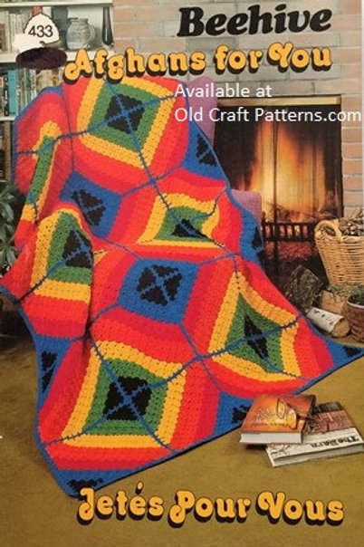 Patons 433. Afghans for You Pinwheel Daisy Granny Victorian Crochet Knit Pattern