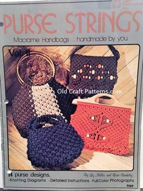 Craft Publications 7107. Purse Strings - 14 Macrame Patterns
