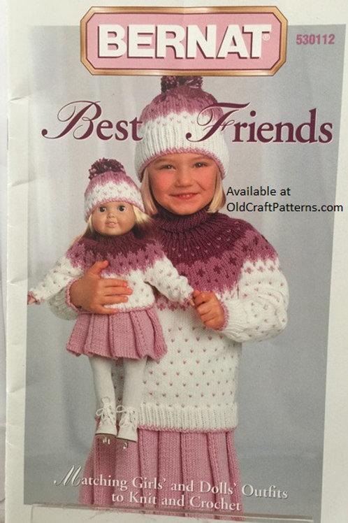 Bernat 112. Best Friends - Childrens Dolls Matching Knitting Crochet Patterns