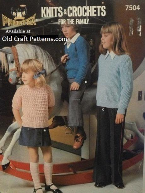 Phentex 7504. Ladies & Childrens Crochet & Knitting Patterns
