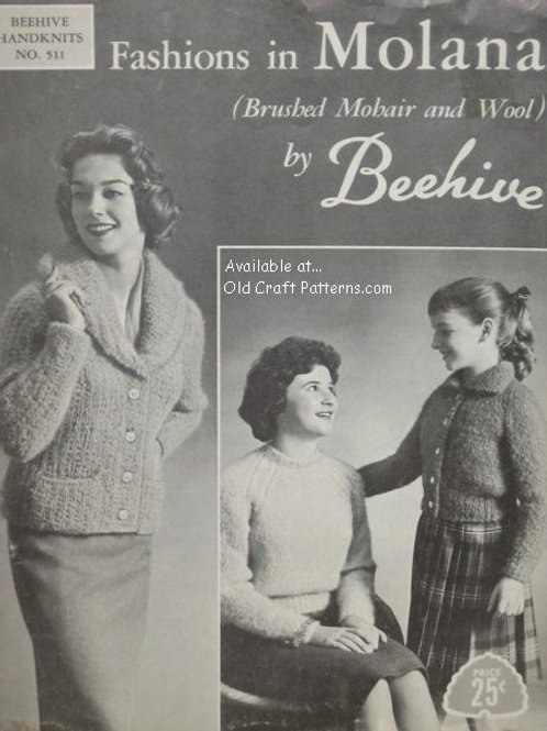 Beehive 511. Fashions in Molana Knitting Patterns