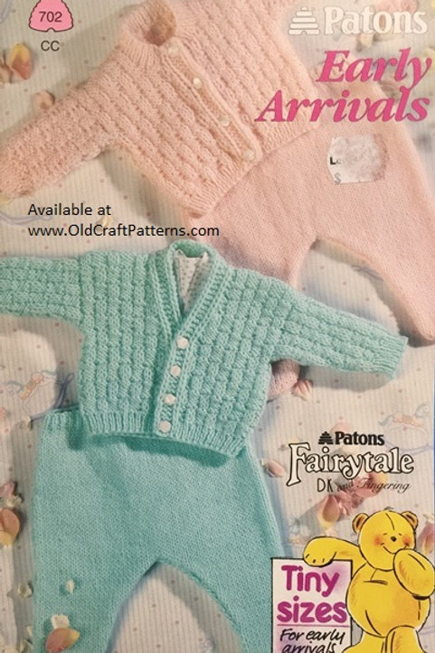 Patons 702. Early Arrivals Tiny Sizes for Early Arrival Babies Knitting Patterns